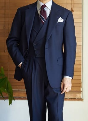 Three piece bespoke navy suit, custom tailored by Steed thumbnail